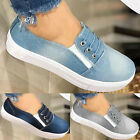 Women Slip On Flat Denim Canvas Loafers Pumps Casual Trainers Sneakers Shoe Size