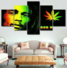 Bob Marley Rasta Reggae 5 Piece Panel Canvas One Love Wall Art Home Decor Print