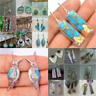 Vintage 925 Silver Turquoise Earrings Ear Hook Women Wedding Dangle Drop Jewelry image