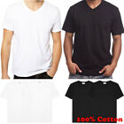 Men 100% Cotton Thick Casual T-Shirt Basic Tee Crew V-Neck White Black S-4XL LOT