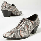 NewStylish Mens Gray snake patterned leather high heel shoes