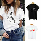 Fashion Women Ladies Short Sleeve T Shirt Tops Blouse Heart Printed Casual Tees.
