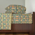Floral Ancient Arabic Persian 100% Cotton Sateen Sheet Set by Roostery image