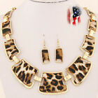 Fashion Retro Leopard Necklace Sweater Chain Earrings Punk Jewelry Set Gift