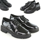 Womens Lace Up Shoes Black Synthetic Leather Ladies Casual Work Brogues Size 3-8