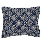 Damask Fleur De Lis Victorian Floral Royal Diamonds Pillow Sham by Roostery image