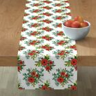 Table Runner Festive Christmas Floral Holiday Decor Flowers Winter Cotton Sateen
