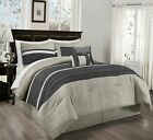 Chezmoi Collection 7-Piece Gray Pleated Stripe Micro Suede Comforter Set image
