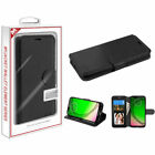 Motorola Moto G7 PLAY Revvlry Leather Wallet Case Cover Folio Pouch Stand BLACK
