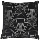 Art Deco Cushion. Luxury Velvet Chenille. Silver and Black Geometric Design.