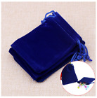 Small Blue Velvet Jewelry Gift Gold Silver Coin Favors Party String Bag Pouches