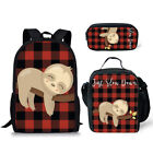 3pcs Sloth Horse Fox Print Backpack Girls School Bags Lunch Box Pen Bag Rucksack