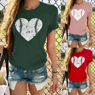 Fashion Women Ladies Love Heart Print Short Sleeve O- Neck T Shirt Tops Blouse