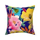 Yellow Poppies Floral Spring Throw Pillow Cover w Optional Insert by Roostery