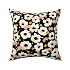 Floral Black Blush White Garden Throw Pillow Cover w Optional Insert by Roostery
