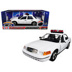 New 2001 Ford Crown Victoria Police Car Plain White with Flashing Light Bar, Fro