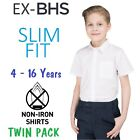 Ex BHS Boys School Shirt (2 Pack) Slim Fit Short Long Sleeve Non Iron Ages 4-16
