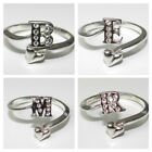 # AVON STERLING SILVER PAVE INITIAL RING ~ YOU CHOOSE FROM B E M
