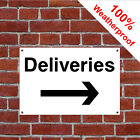 Deliveries with right arrow hotel safety sign HOT05 durable and weatherproof