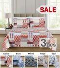 3PC, Regal Home Collections Geometric Queen Size Quilt Set(One Quilt+Two Pillow) image