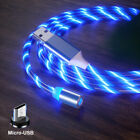 Magnetic Glowing Flowing Micro USB Light LED Fast Charging Phone Charger Cable