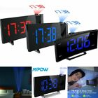 5 Projection Digital LCD Curved Screen Alarm Clock Color Display w/ LED Backlit