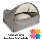 Sleepy Fox Taupe Cat Or Dog Den Small, Medium Or Large Size Comfy Bed + Toys