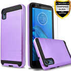 For Motorola Moto E6 ShockProof Phone Case Cover+Tempered Glass Screen Protector