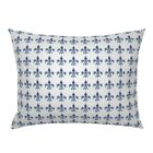 Fleur Di Lis Hydrangeas Purple French Floral Blue Shabby Pillow Sham by Roostery image