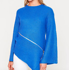 Hayden Los Angeles NWT Asymmetrical Bright Blue Zipper Sweater