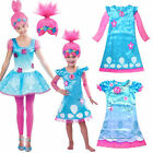 2019 Girl Fancy Dress Wig Trolls Poppy Costume Child Cosplay Party Outfit Sets image