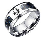 Star Wars Jedi Order Logo with Blue Carbon Fiber Stainless Steel Ring $14.99 USD on eBay