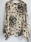 Topshop Cream Blouse Size 10 With Butterflies Top