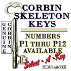 Vintage Corbin Skeleton Keys, Numbers P1 Thru P12 Available, Select One Or More