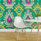 Wallpaper Roll Green Ikat Abstract Emerald Tribal 24in x 27ft
