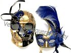 Halloween Blue Masquerade stick Feather Skeleton Mask Pair Costume Cosplay Party