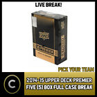 2014-15 UPPER DECK PREMIER HOCKEY 5 BOX (FULL CASE) BREAK #H521 - PICK YOUR TEAM $27.0 CAD on eBay