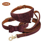 US 3pcs/set Puppy Collar Bowknot Kitten Cat Collars and Soft Leather Cute Leash