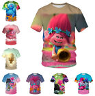 Unisex Women Men T-Shirt 3D Print Short Sleeve Tee Tops Cartoon Hrarjuku Trolls image