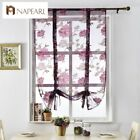 NAPEARL 1 Panel Floral Kitchen Curtain Modern Pastoral Tie Up Roman Shades Sheer $10.36 USD on eBay