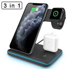 For Apple Watch iPhone 11/XS Max/X 3 in1 Qi Wireless Fast Charger Charging Stand