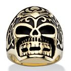 Men's Gold Ion-Plated Antiqued Stainless Steel Skull Ring