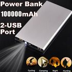 100000mAh Power Bank Charger 2 USB LCD LED Flashlight External Battery Universal