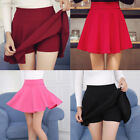 Women Elastic High Waist Short Skirt Plain Safety Flared Pleated Sexy Mini Skirt