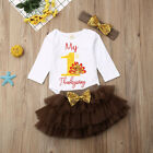 US 2019 Infant Baby Girl Thanksgiving Tops Romper Tutu Dress 3PCS Outfit Clothes