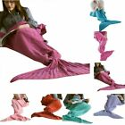 Mermaid Tail Sofa Blanket Super Soft Warm Hand Crocheted Knitting Wool For Adult image