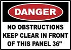 DANGER KEEP CLEAR ELECTRICAL PANEL 36 INCHES SAFETY SIGN STICKER OSHA