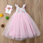 US Kid Flower Girl Princess Dress Baby Party Wedding Lace Tulle Dress