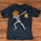 Funny Halloween Shirt For Boys Kids Dabbing Skeleton Pumpkin T-Shirt