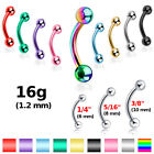 ONE 16g Stainless Steel Curved Eyebrow Barbell Rook Snug Daith Tragus 6/8/10 MM image